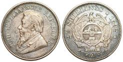 World Coins - South Africa. Peter Kruger. AR 2 1/2 Schillings 1892. Choice VF