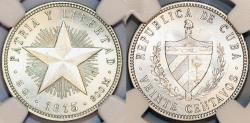 World Coins - Cuba. Republic. Silver 40 Centavos 1915. High Relief. Choice AU