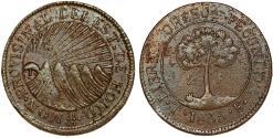 World Coins - Honduras. RARE Provincial Coinage. Copper 2 Peso 1833 TF. XF