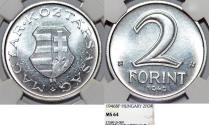World Coins - Hungary. First Republic. Al 2 Forints 1946. NGC MS64