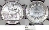 World Coins - French Indo-China. Colonial Issue. Silver 50 Cents 1936. NGC MS62