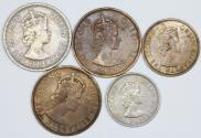 World Coins - East Caribbean States. Elizabeth II. Lot of 5 Coins 1955-1959. XF-AU