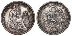 World Coins - Peru. AR 1/5 Sol 1898. XF