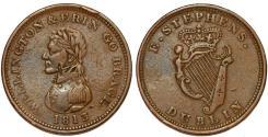 World Coins - Ireland. Edward Stephens Dublin. Copper Penny Token 1813. Choice VF