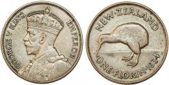 World Coins - New Zealand. Commonwealth. George V. AR Florin 1934. VF+