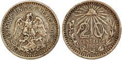 World Coins - Republic of Mexico. AR 20 Centavos 1906. VF
