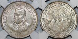 World Coins - Nicaragua. Republic. Scarce AR 50 Centavos 1912 H. NGC AU58