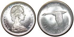 World Coins - Canada. Centennial Year. Silver 1 dollar 1967. Choice UNC. Proof-like strike.
