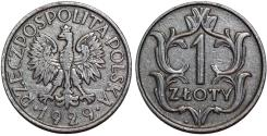 World Coins - Poland. II Republic (1918-1939). Ni 1 Zloty 1929. XF