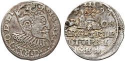 World Coins - Poland. (Livonia) Riga. Sigismund III (1587-1632). Silver 3 Gross - Trojak 1597. VF