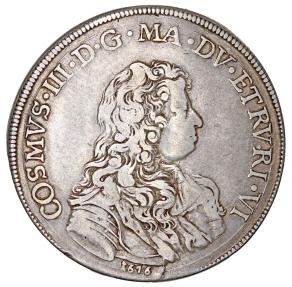 World Coins - ITALY. Cosimo III de' Medici Grand Duke of Toscana (1670-1723). AR Piastra 1676. Nice VF.