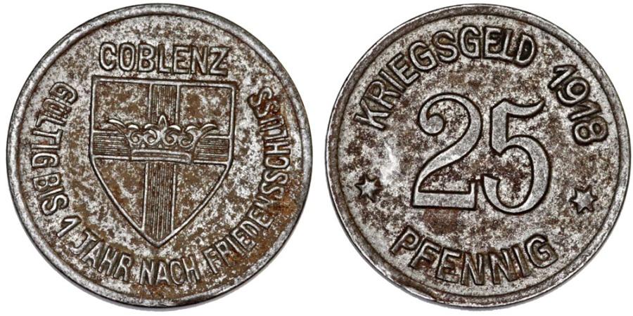 World Coins - Germany. Emergency Coins. City of Coblenz. Iron 25 Pfennig 1918. XF