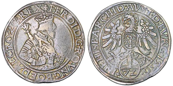 World Coins - H.R.E. Ferdinand I as King of Rome (1531-1558) AR Thaler of 72 Kreuzer 1556. aVF, toned