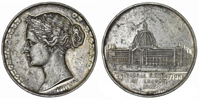 World Coins - Great Britain. Queen Victoria. National Expo in London 1862. aVF