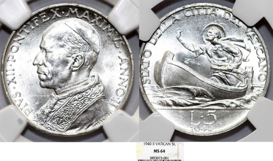 World Coins - Vatican City. Pope Pius XII (1939-1952). Silver 5 Lire 1940. NGC MS64