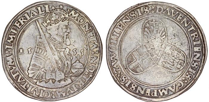 World Coins - Netherlands. Deventer. Karl V (1519-1556) AR KarolusDaalder 1555. Choice VF