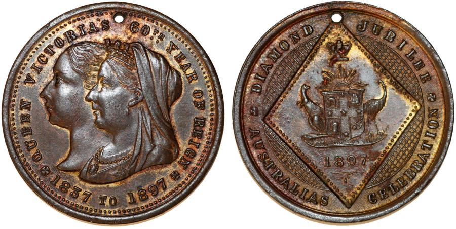 World Coins - Australia. Brisbane City Medal Celebrating Queen Victoria's Diamond Jubilee 1897. XF, original