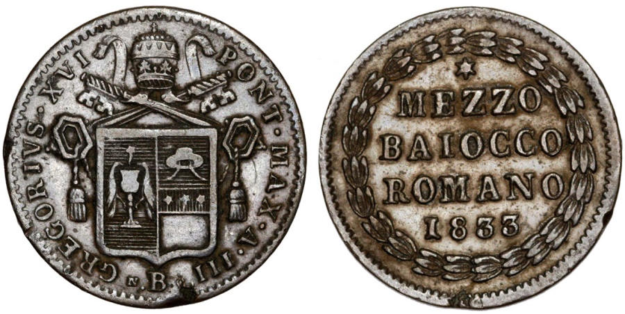 World Coins - Italian Papal States. Rome. Pope Gregory XVI (1831-1846). AE 1/2 Baiocco 1833 B. Choice VF