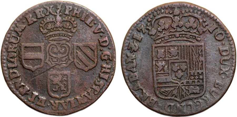 World Coins - Spanish Netherlands. Namur. Phillip V. Cu Liard 1710. Choice VF.