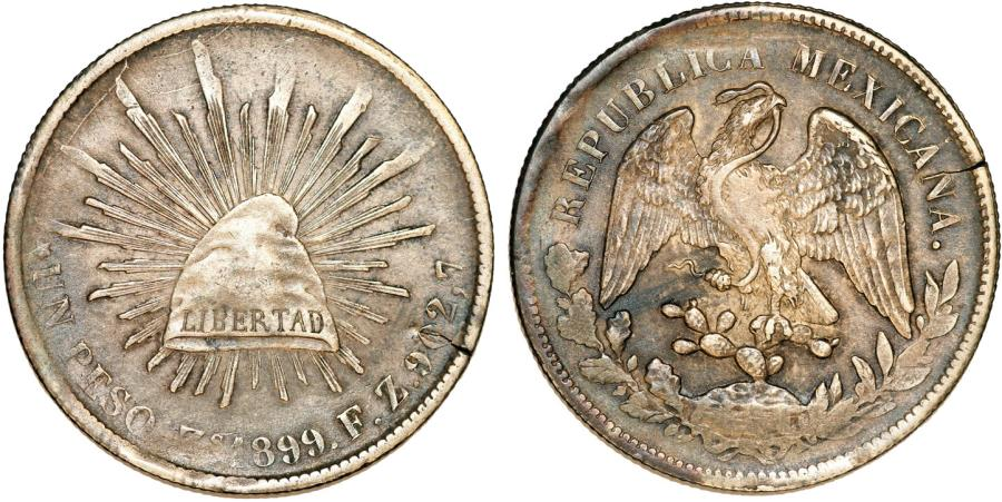 World Coins - Mexico. Republic. AR Peso 1899 Zs Fz. VF+