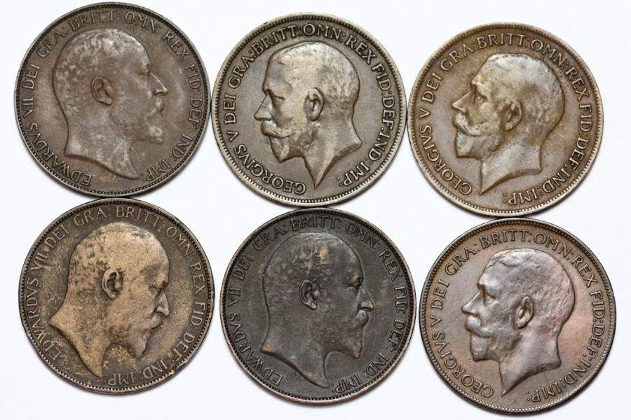 Great Britain  Lot of 6 Coins: 1 Penny 1903-1921  VF-AU