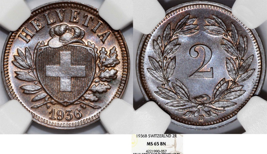 World Coins - Switzerland. Federation issue. AE 2 Rappen 1936 B. NGC MS65 BN