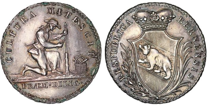 "World Coins - Switzerland. Canton of Bern. AR Medal Issue of 1/4 Taler ""School Prize""  ca. 1820. Nice Choice XF."