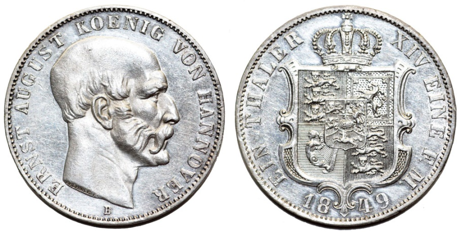 "World Coins - Germany. Kingdom of Hannover. Ernst August (1837-1851) Silver Scarce Thaler ""Brehmere"" 1849B. AU"