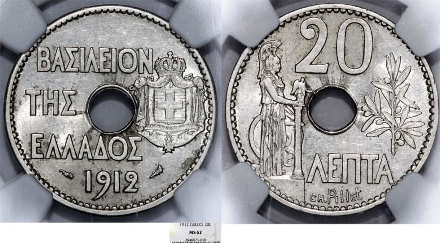 World Coins - Greece. George I (1863-1913). 20 Lepta 1912. NGC MS62.