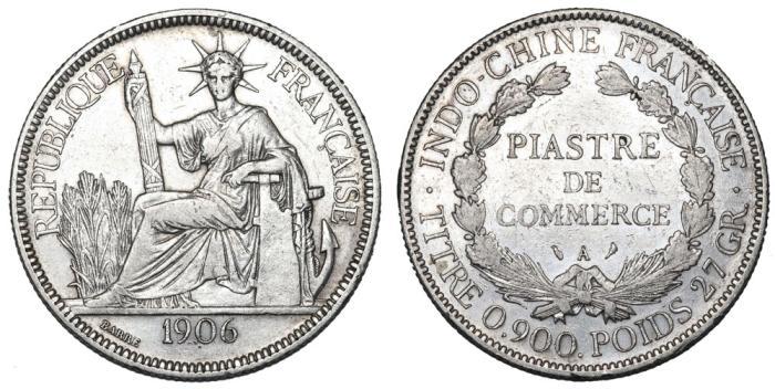 Indo- China  AR 1 Piastre De Commerce 1906  VF