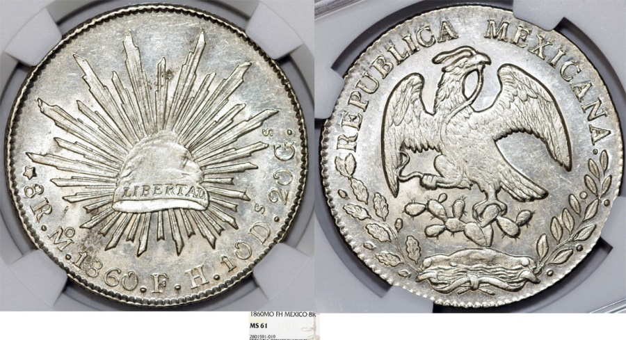 World Coins - Mexico. Republic. AR 8 Reales 1860 Mo MH. NGC MS61
