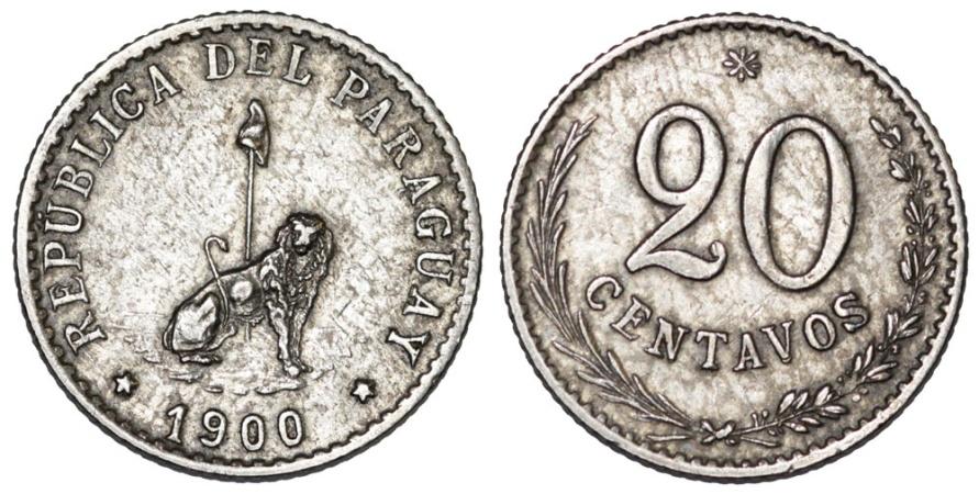 World Coins - Paraguay. CU-NI 20 Centavos 1903. AU