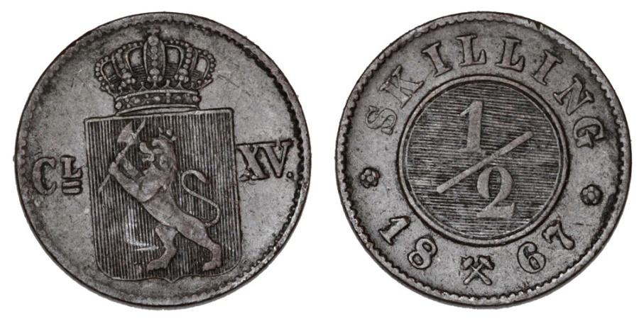 World Coins - Norway. CU 1/2 Skilling 1867. AXF