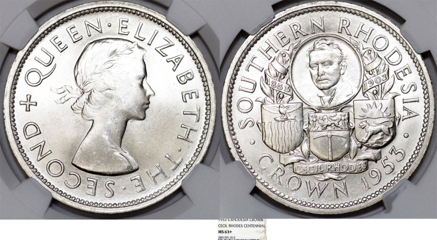World Coins - British rule of Southern Rhodesia. Scarce Crown 1953. NGC MS63+