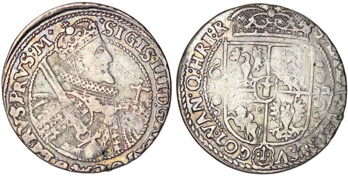 World Coins - Poland. Bromberg. Sigismund III Vasa (1587-1632). Silver 1/4 Thaler 1622. Nice Choice VF