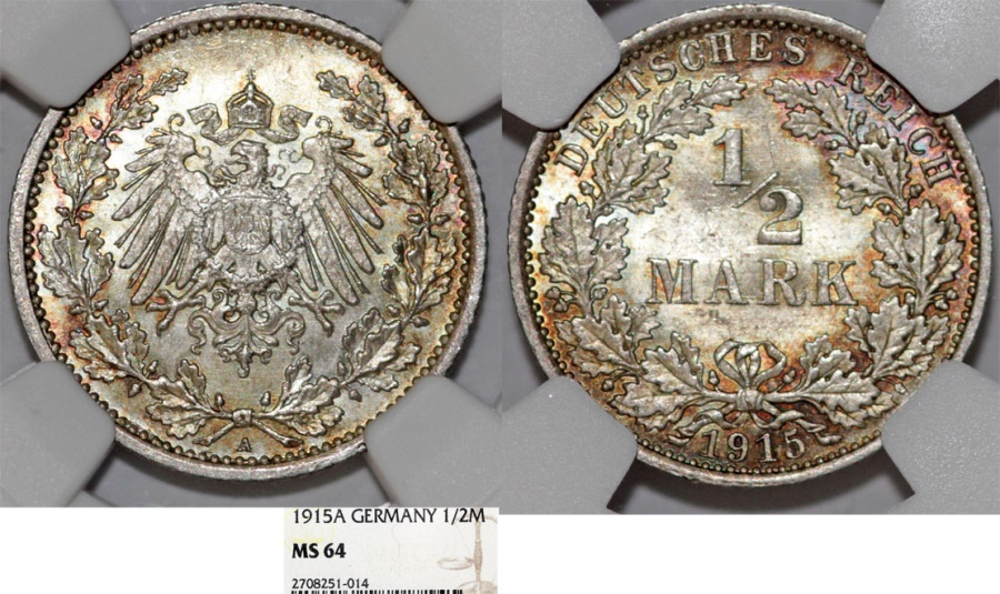 World Coins - Germany Empire. Wilhelm II (1888-1918). Silver 1/2 Mark 1915 A. NGC MS64, toned