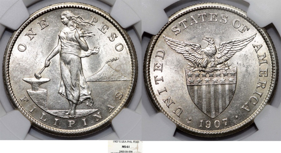 World Coins - Philippines. USA Administration. AR Peso 1907 S. NGC MS61!