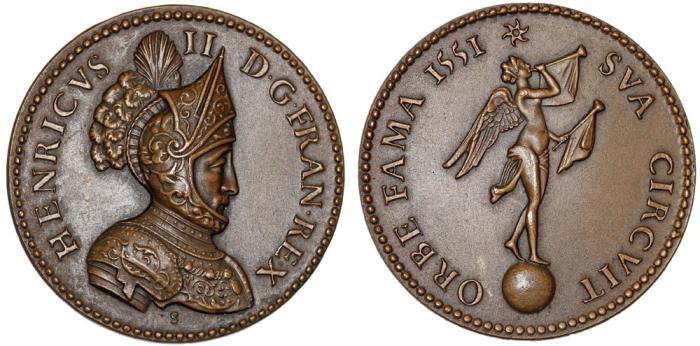 "World Coins - France.  Henry II. Commemorative restrike of ""Orbe Fama"" Medal 1551. UNC"