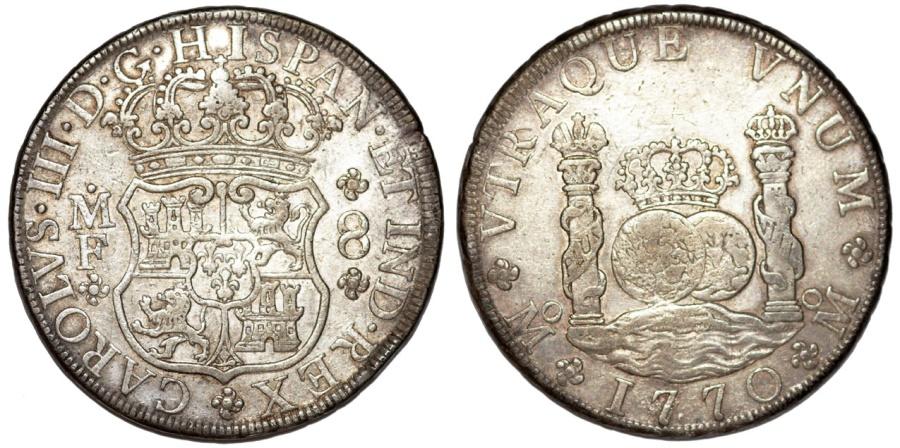 World Coins - MEXICO. Colonial. Carlos III of Spain (1759-1788). AR 8 Reales 1770 Mo-MF. Choice VF, scarce