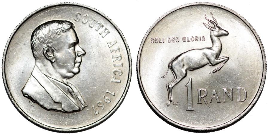 World Coins - South Africa. AR 1 Rand 1967. UNC