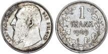 World Coins - Belgium. Leopold II. AR 1 Franc 1909. VF+/XF
