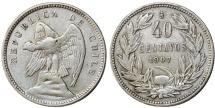 World Coins - Chile. Republic. Scarce denomination 40 Centavos 1907. Good VF