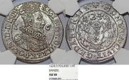 World Coins - Poland. City of Danzig. Sigismund III (1587-1632). Silver 1/4 Taler 1624/3. NGC AU58, beauty