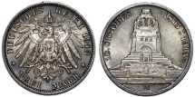 World Coins - Germany. Imperial Period. Saxony. Friedrich August III (1904-1918) Commemorative AR 3 Mark 1913. Toned UNC