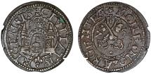 World Coins - Inflants (Latvia). Riga. City issue of Shilling 1575. Toned Choice XF