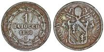 World Coins - Vatican City. Pope Pius IX (1846-1878). Bronze Baiocco 1850 R. VF.