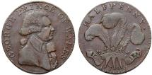World Coins - Great Britain. Middlesex-National Series. Lancaster. Cu 1/2 Penny Token 1795. VF+
