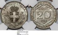 World Coins - Italy. Vittorio Emanuele III. CU-NI 20 Centesimi 1919R. NGC MS62