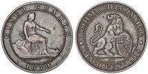 World Coins - Spain. Provincial (1869-1871). Cu 10 Centimes 1870 OM. VF