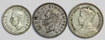 New Zealans. Lot of 3 Silver Coins: 3 Pence - 6 Pence 1934-1944. VF+/XF+